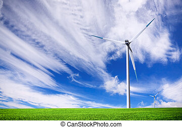 turbina, ligado, campo verde