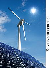 turbina, painéis, solar, vento