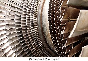 turbina, parte máquina, lâminas