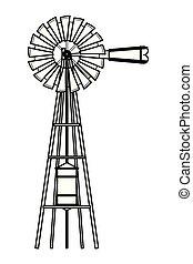 turbina, pretas, branca, vento, ícone