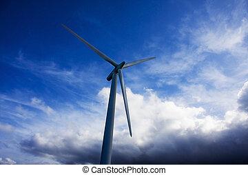 turbina, renovável, dê energia corda