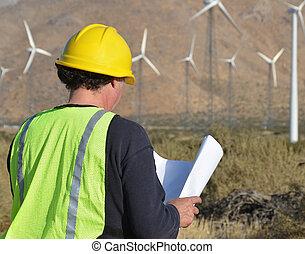turbina, sitio, viento, ingeniero