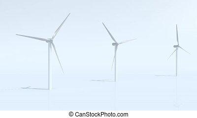 turbina, trzy, wiatr
