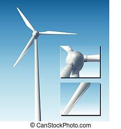 turbina, vector, viento