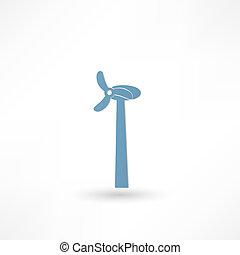turbina, vento, ícone