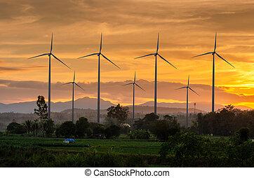turbina, vento, eco, campo azienda agricola, tailandia, energia, bello, ecologico, cielo, verde, generation., potere