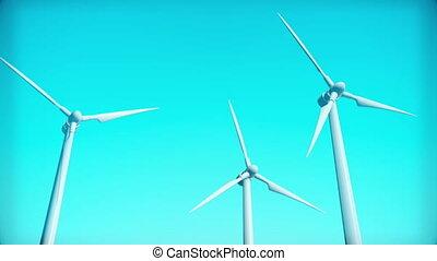 turbina vento, generatore, 3d, render, cappio, animazione
