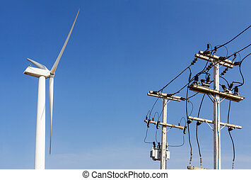 turbina, vento, linee, potere, trasportare