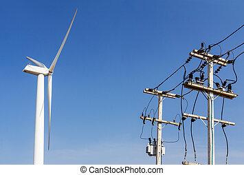 turbina vento, linee, trasportare, potere