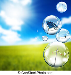turbina, vento, painel, bolha, solar