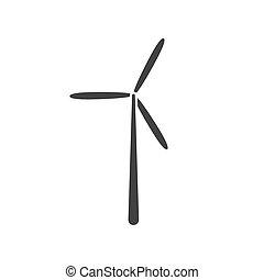 turbina, vetorial, vento, ícone