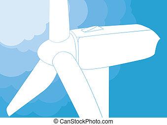 turbina, vetorial, vento