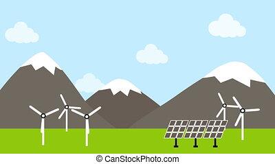 turbina, wiatr, poduszeczka, okolica, słoneczny