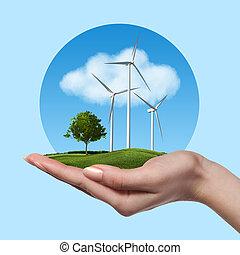 turbinas, árvore, vento, mão feminina