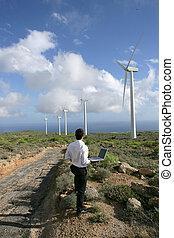 turbinas, computador portatil, observar, viento, empresario