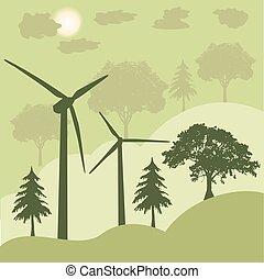 turbinas, energia, conceito, verde, vento