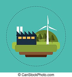 turbinas, energia, industrial, verde, vento
