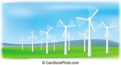 turbinas, energia, source., farm., alternativa, vento