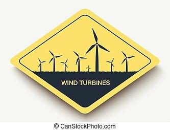 turbinas, energy., vento, ícone