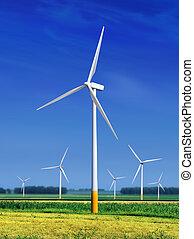 turbinas, prado, vento, l