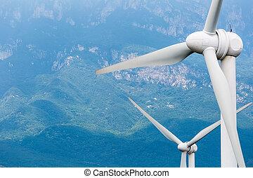 turbinas, primer plano, viento