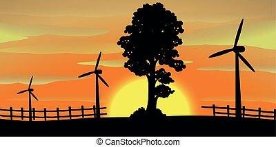 turbinas, silueta, cena, vento, campo