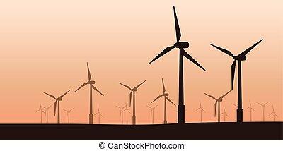 turbinas, silueta, vento