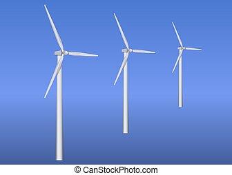 turbinas, três, vento