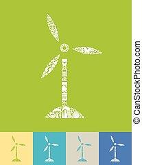 turbinas, vento, ícone