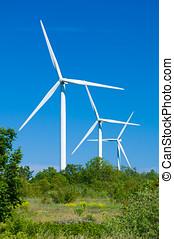 turbinas vento, gerando, electricity., natureza, proteção, conceito