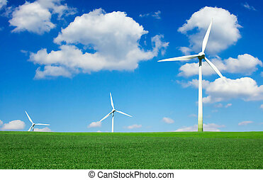 turbinas, vento, renovável, fonte, -, campo, energia