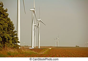 turbinas, vento, serviço