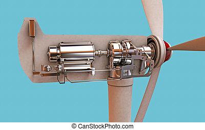 turbine, abschnitt, wind