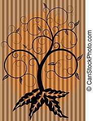 turbine, albero, in, autunno