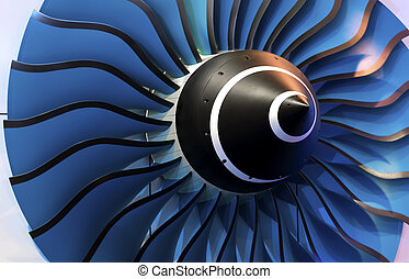 Turbine Blades. Blue light - close-up of a large jet engine...