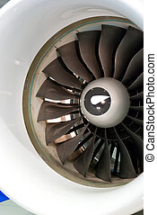 Turbine Blades - close-up of a large jet engine turbine...