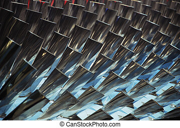 Turbine Blades - Interior of a turbine, blades visible.