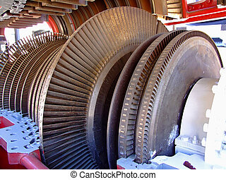 Turbine blades - Open turbine motor with exposed metal ...