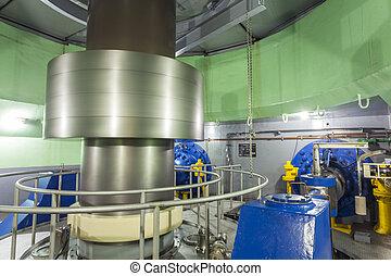 turbine, dans, usine énergie hydroélectrique