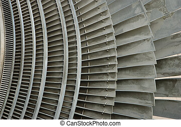 the detail shot of an atomic power plant turbine
