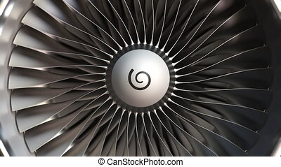 Turbine engine blades close-up, realistic loopable 3D animation