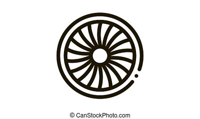 Turbine Engine Icon Animation. black Turbine Engine animated icon on white background