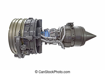 Turbine jet engine, side view isolated on white background.