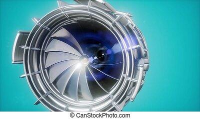 turbine, moteur, jet, parties