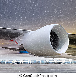turbine of plane at non-flying weather - airport and white...