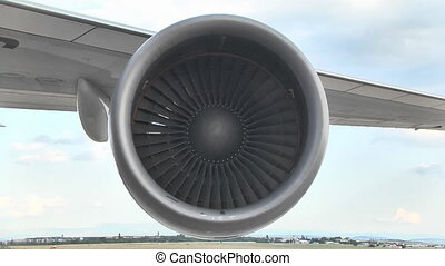 Turbine On The Wing Of A Boeing 747 At The Airport .Boeing...