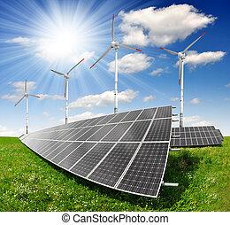 turbine, panneaux, solaire, vent