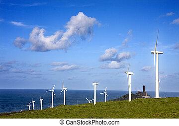 turbine, renouvelable, enroulez énergie