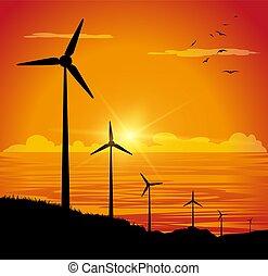turbine, silhouette, vento