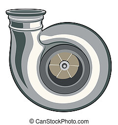 turbine - turbocharger on a white background. Illustration...